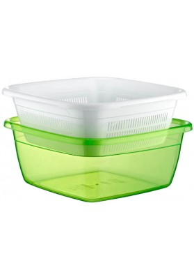 031079 HOBBY EMERALD SQUARE BASIN WITH STRAINER - 6 LT