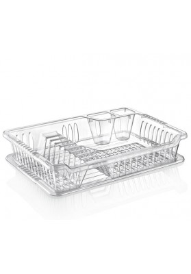 041097 HOBBY SMALL CLEAR VIOLET DISH DRAINER WITH TRAY