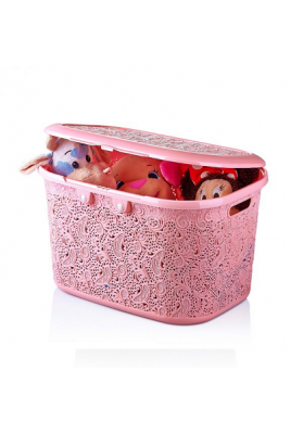 081097 HOBBY LACE STORAGE BOX WITH LID - 28 LT
